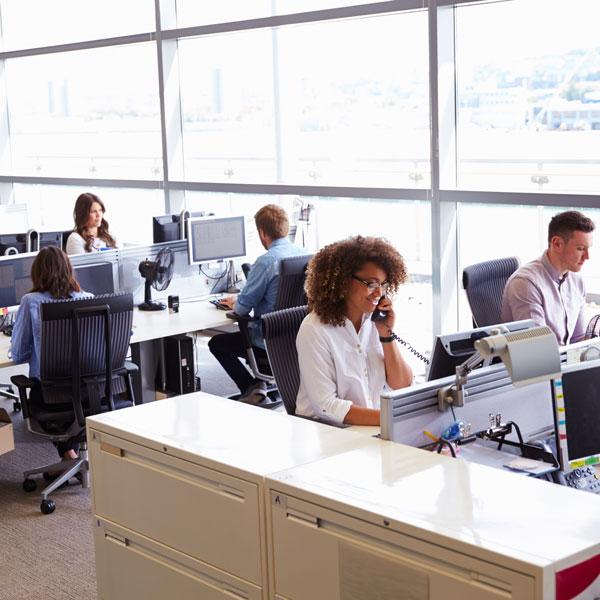 BURNS office busy men women