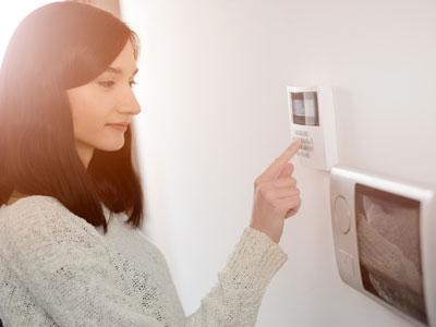 BURNS woman home security keypad